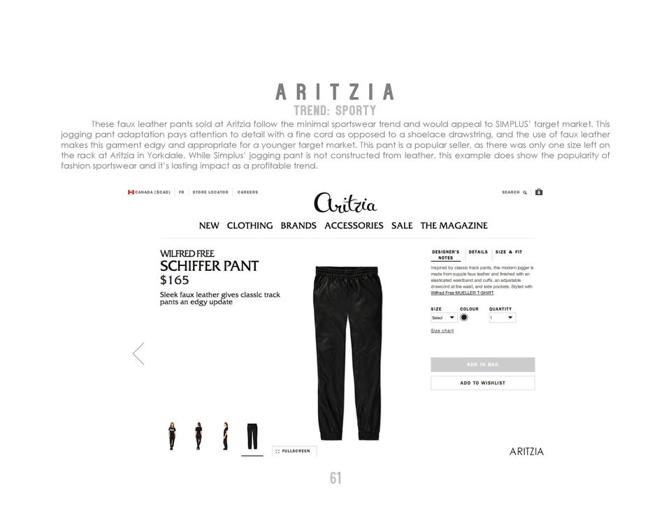 A R I T Z I A TREND  SPORTY These faux leather pants sold at Aritzia follow the minimal sportswear trend and would appeal ...