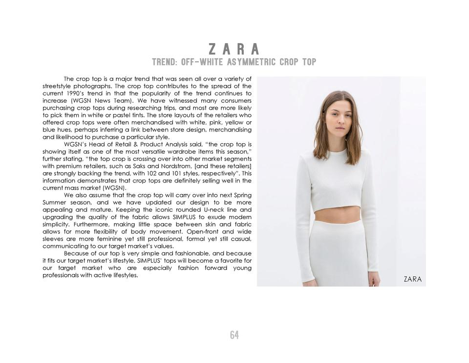 Z A R A  TREND  Off-White Asymmetric Crop Top       The crop top is a major trend that was seen all over a variety of stre...
