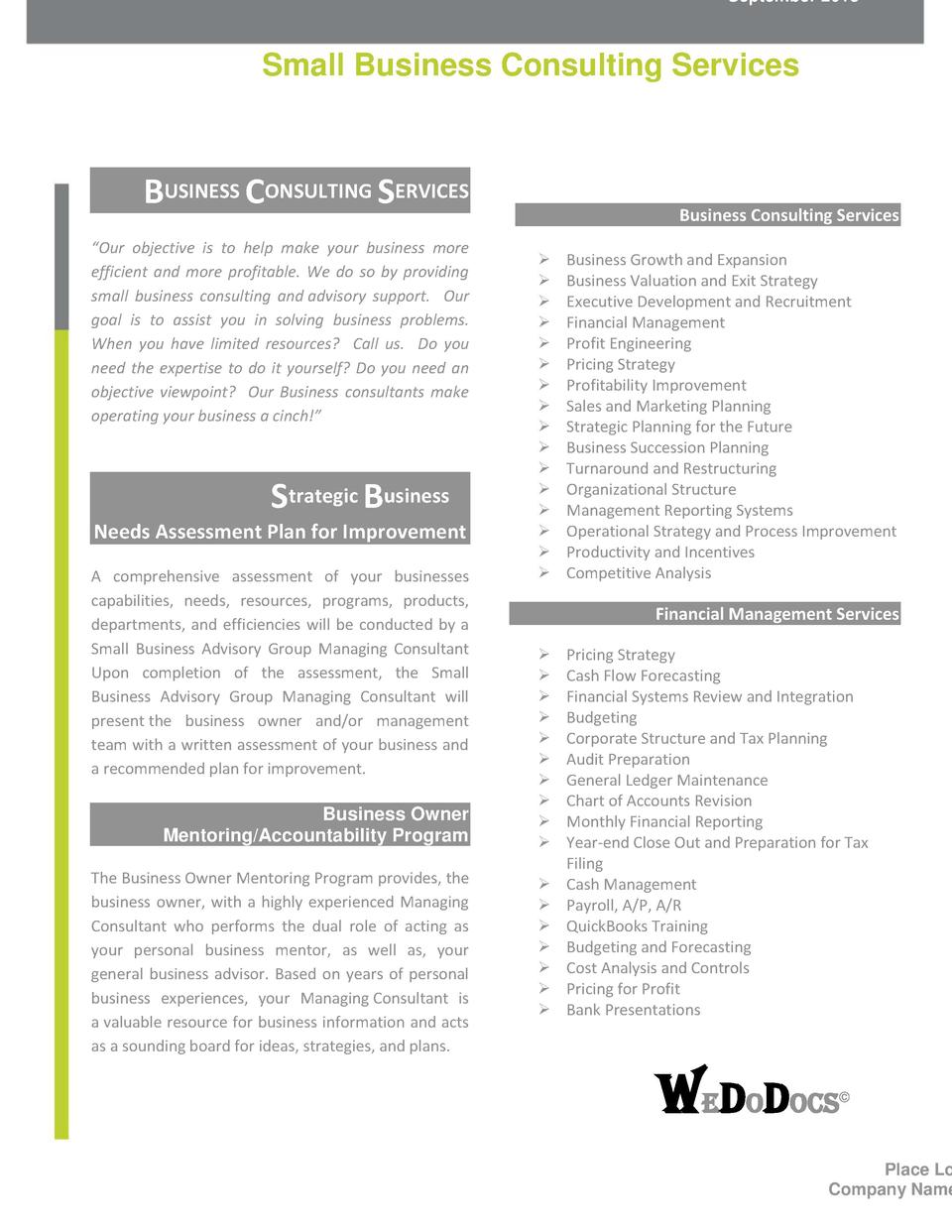 Pricing brochure simplebooklet september 2013 small business consulting services business consulting services our objective is to help make your solutioingenieria Images