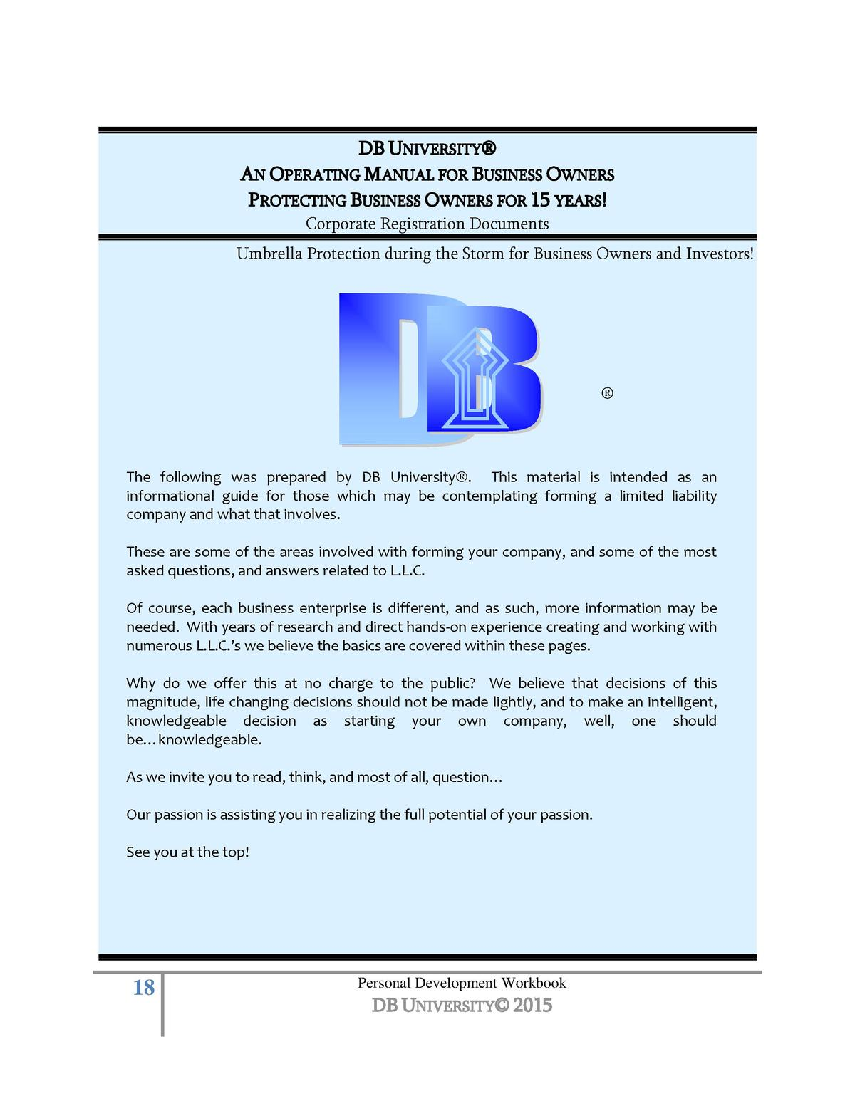 Creating your personal developme simplebooklet db university an operating manual for business owners protecting business owners for 15 years corporate registration malvernweather Image collections