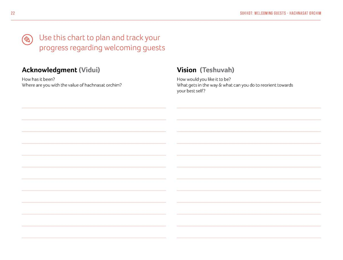 22  Sukkot  Welcoming Guests - Hachnasat Orchim  Use this chart to plan and track your progress regarding welcoming guests...