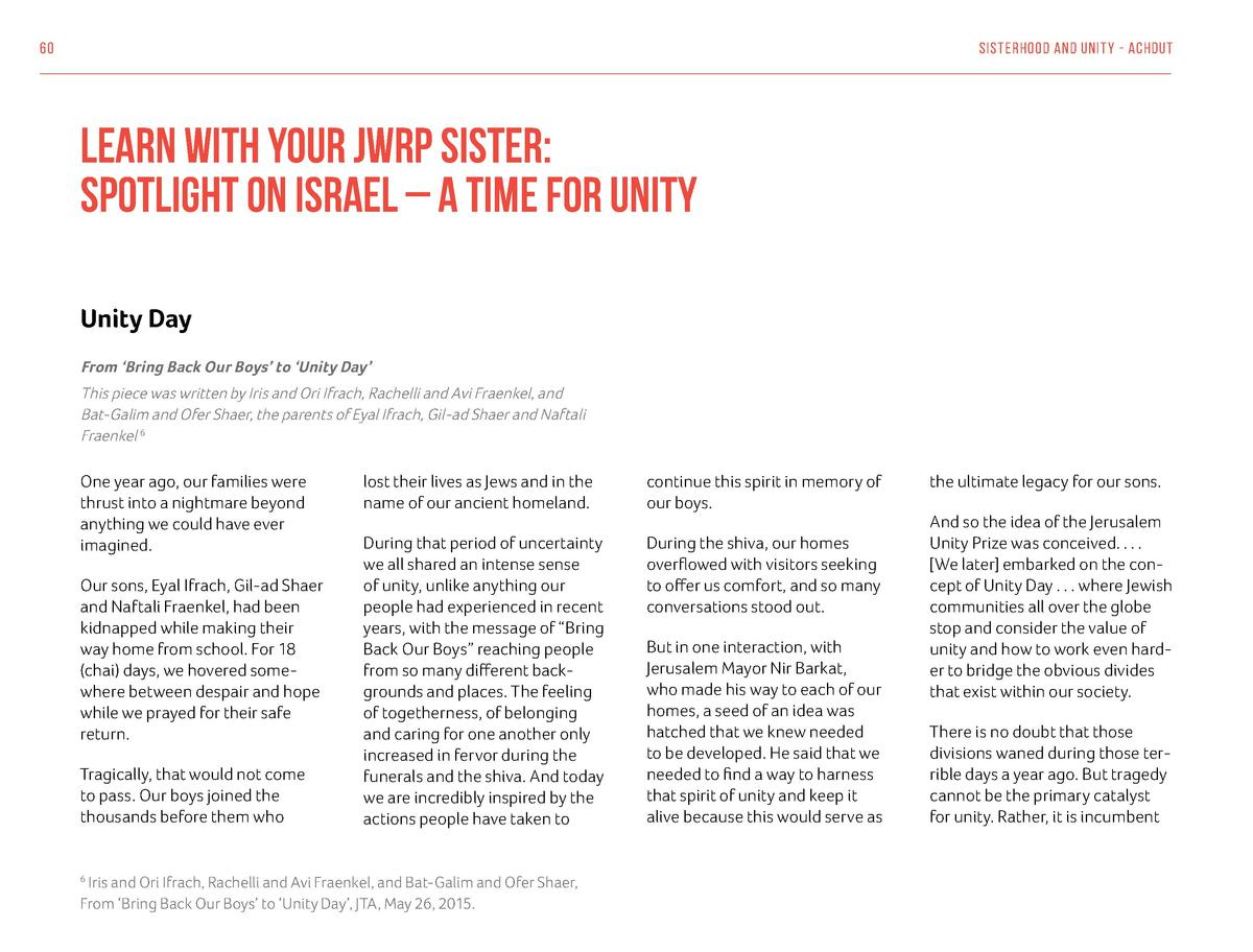 60  Sisterhood And Unit y - Achdut  Learn With Your JWRP Sister  Spotlight On Israel     A Time for Unity Unity Day From  ...