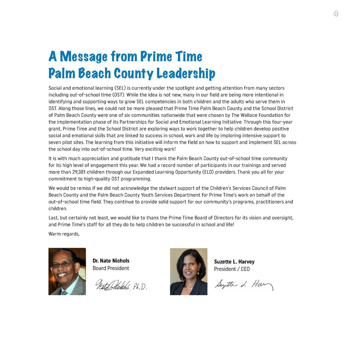 3  4  A Message from Prime Time Palm Beach County Leadership Table of Contents Support for The Field   5  SEL 101 Training...