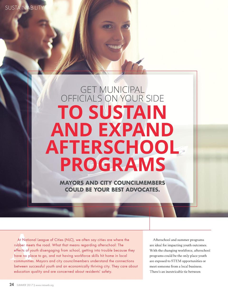 SUSTAINABILITY  GET MUNICIPAL OFFICIALS ON YOUR SIDE  TO SUSTAIN AND EXPAND AFTERSCHOOL PROGRAMS MAYORS AND CITY COUNCILME...