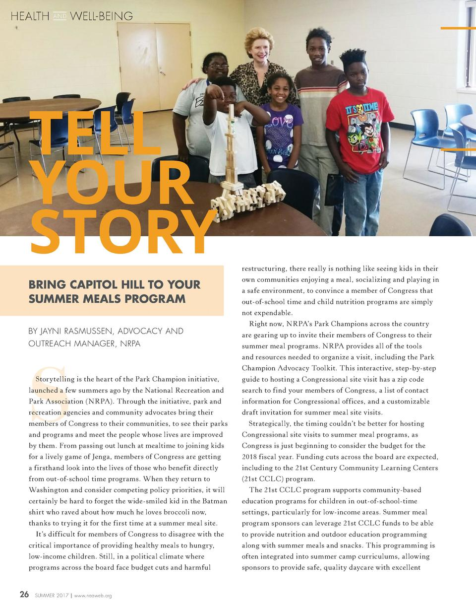 HEALTH  AND  WELL-BEING  TELL YOUR STORY BRING CAPITOL HILL TO YOUR SUMMER MEALS PROGRAM  restructuring, there really is n...