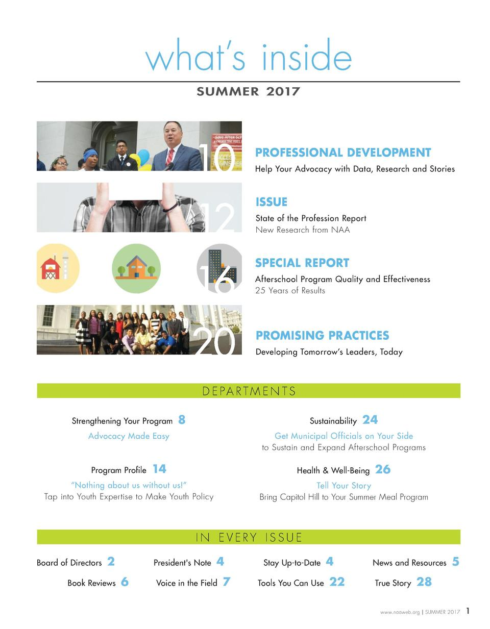 what   s inside SUM MER 2017  10  PROFESSIONAL DEVELOPMENT Help Your Advocacy with Data, Research and Stories  12  ISSUE  ...