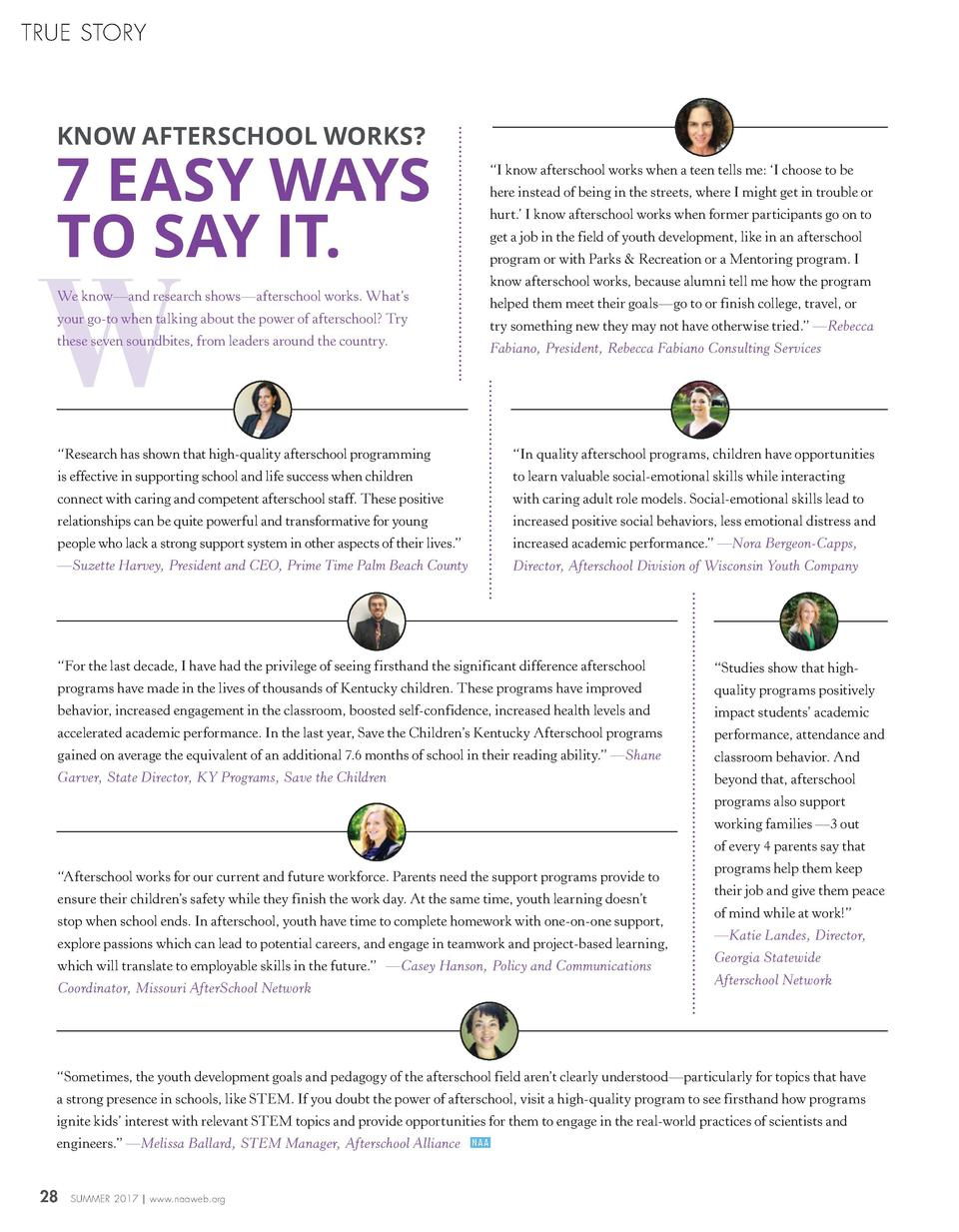 TRUE STORY  KNOW AFTERSCHOOL WORKS   7 EASY WAYS TO SAY IT.  W  We know   and research shows   afterschool works. What   s...