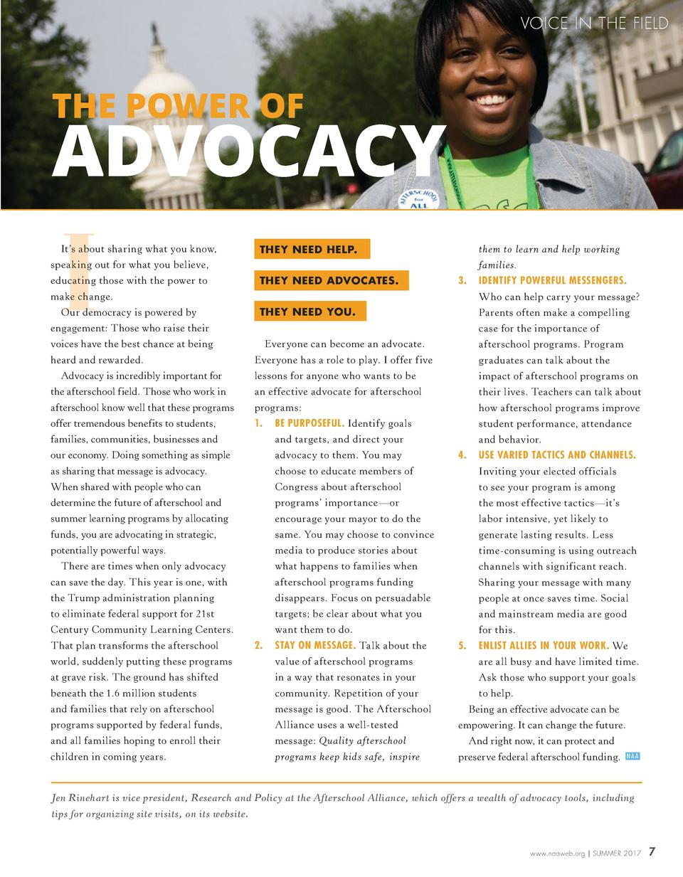 VOICE IN THE FIELD  THE POWER OF  ADVOCACY  I  It   s about sharing what you know,  them to learn and help working  THEY N...