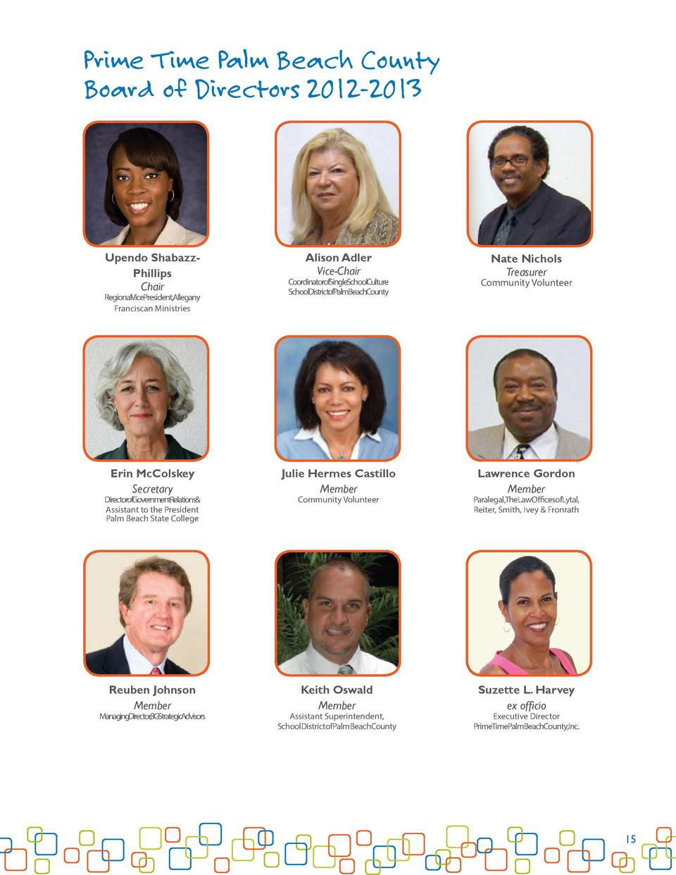 Prime Time Palm Beach County Board of Directors 2012-2013  Upendo ShabazzPhillips Chair  CoordinatorofSingleSchoolCulture ...