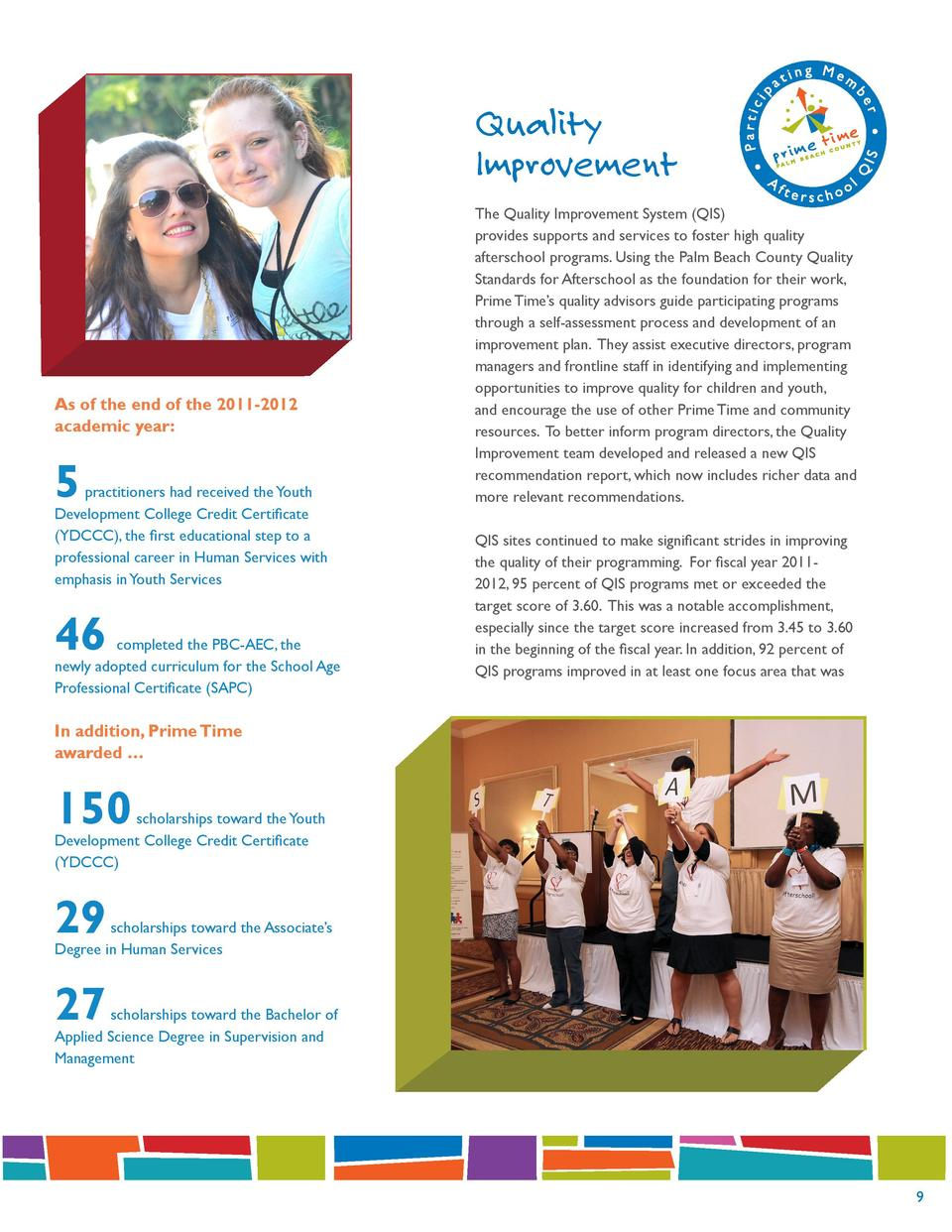 Quality Improvement  As of the end of the 2011-2012 academic year   5  practitioners had received the Youth Development Co...