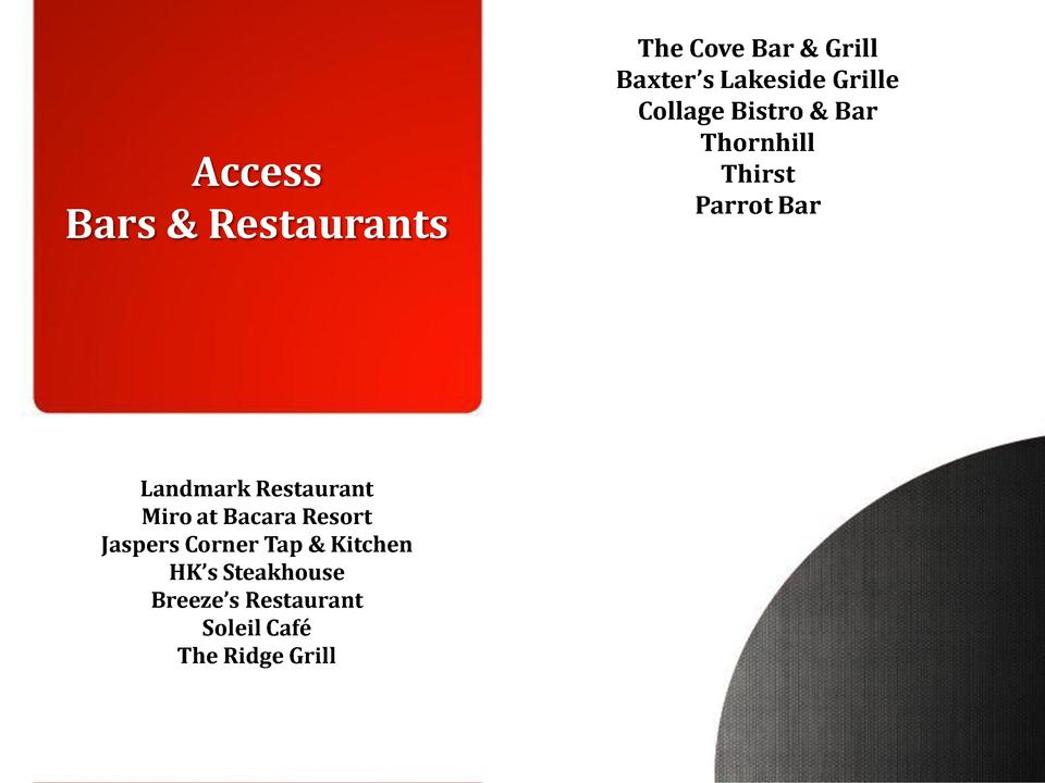 Access Bars   Restaurants  Landmark Restaurant Miro at Bacara Resort Jaspers Corner Tap   Kitchen HK   s Steakhouse Breeze...