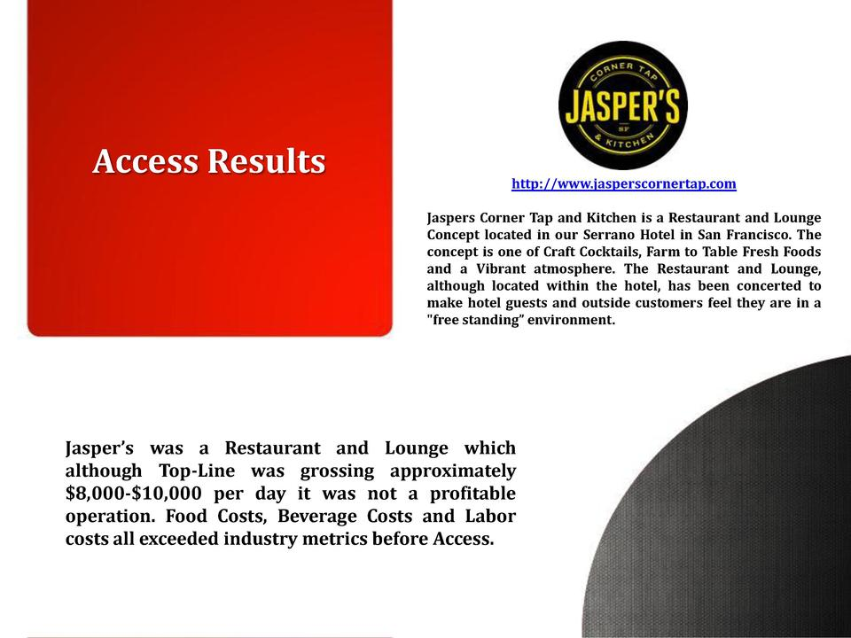 Access Results  http   www.jasperscornertap.com Jaspers Corner Tap and Kitchen is a Restaurant and Lounge Concept located ...