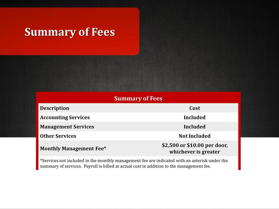 Summary of Fees  Summary of Fees Description  Cost  Accounting Services  Included  Management Services  Included  Other Se...
