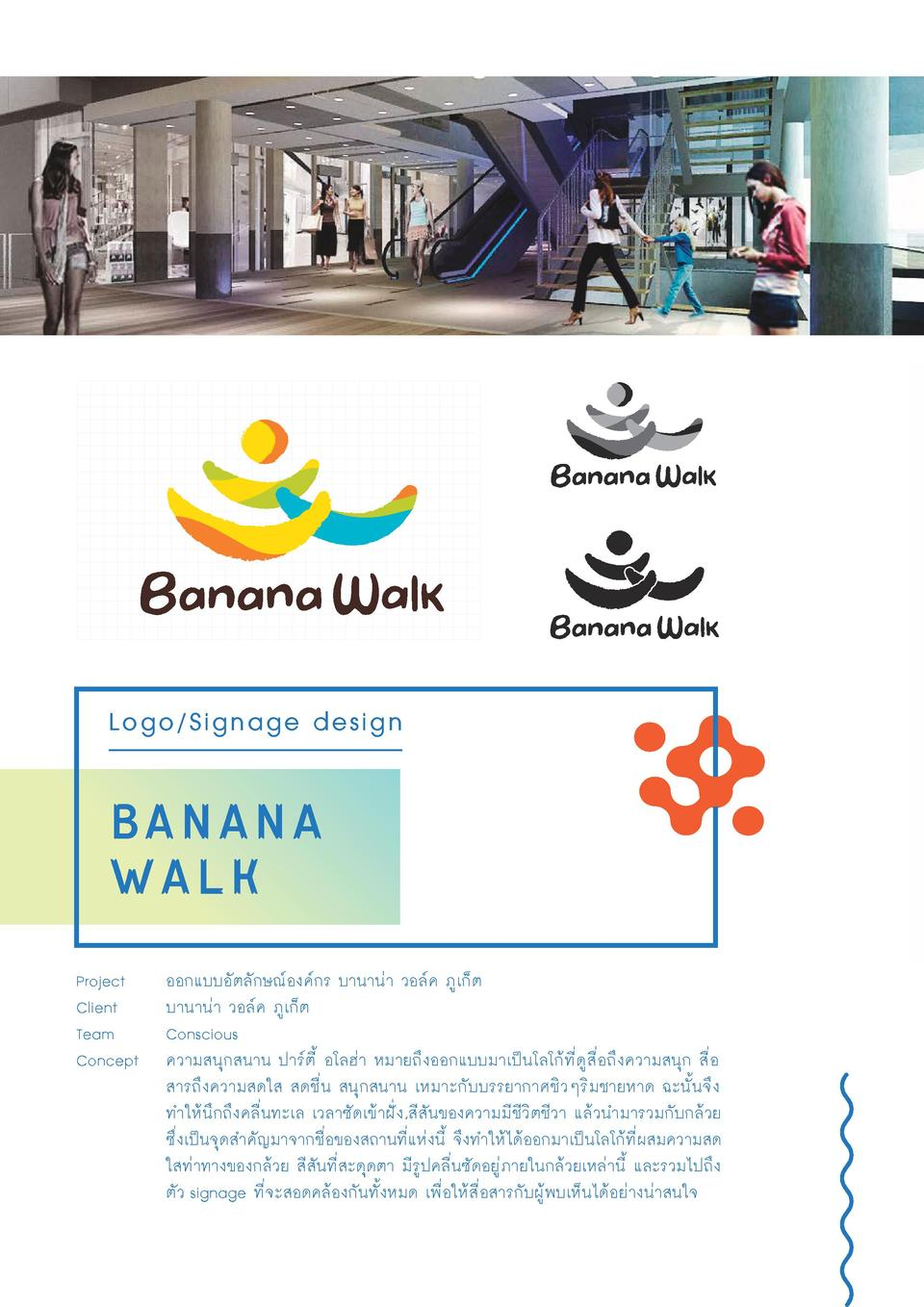 Logo Signage design  banana walk Project Client Team Concept                                                              ...