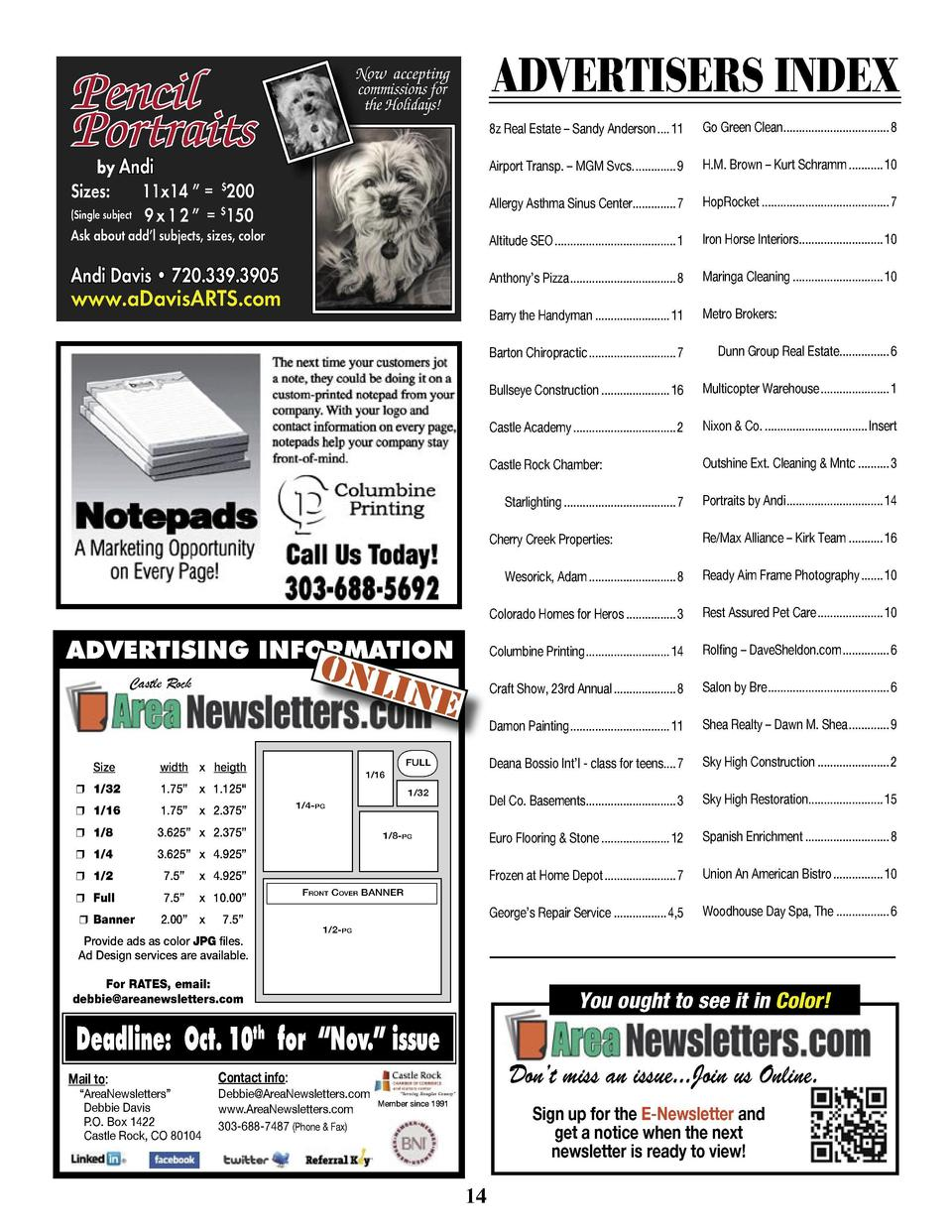 Pencil Portraits  ADVERTISERS INDEX  Now accepting commissions for the Holidays  Holidays  8z Real Estate     Sandy Anders...
