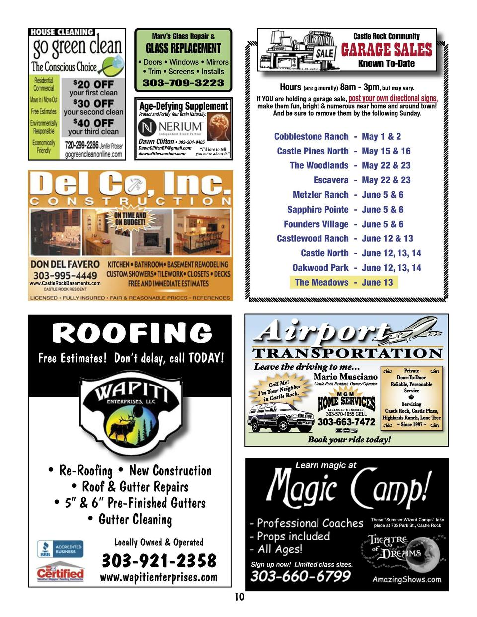 Castle Rock Community  Marv   s Glass Repair    GARAGE SALES  GLASS REPLACEMENT     Doors     Windows     Mirrors     Trim...