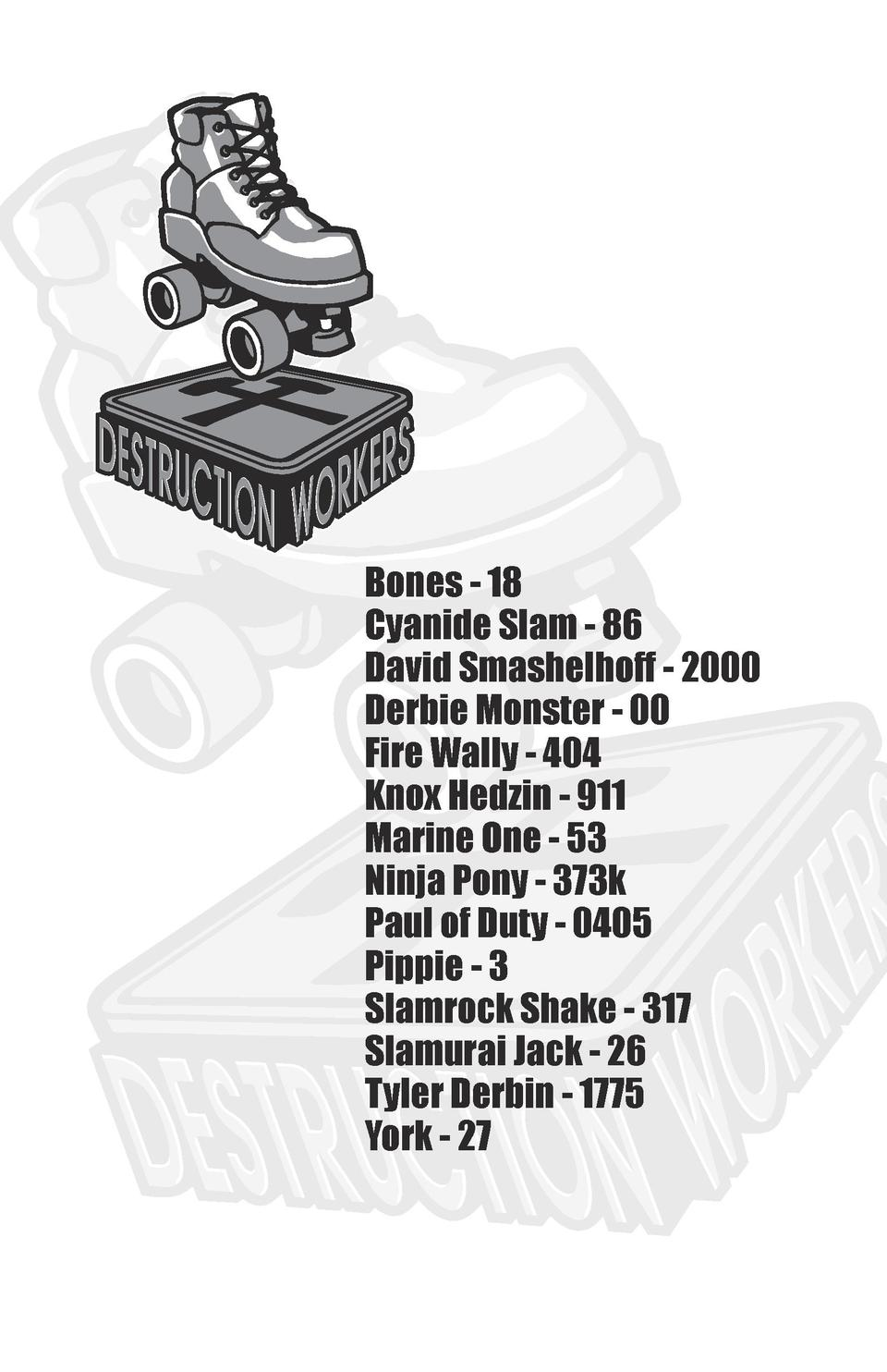Bones - 18 Cyanide Slam - 86 David Smashelhoff - 2000 Derbie Monster - 00 Fire Wally - 404 Knox Hedzin - 911 Marine One - ...