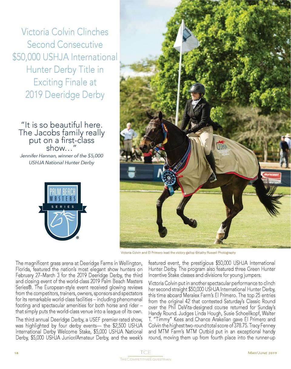 Victoria Colvin Clinches Second Consecutive  50,000 USHJA International Hunter Derby Title in Exciting Finale at 2019 Deer...