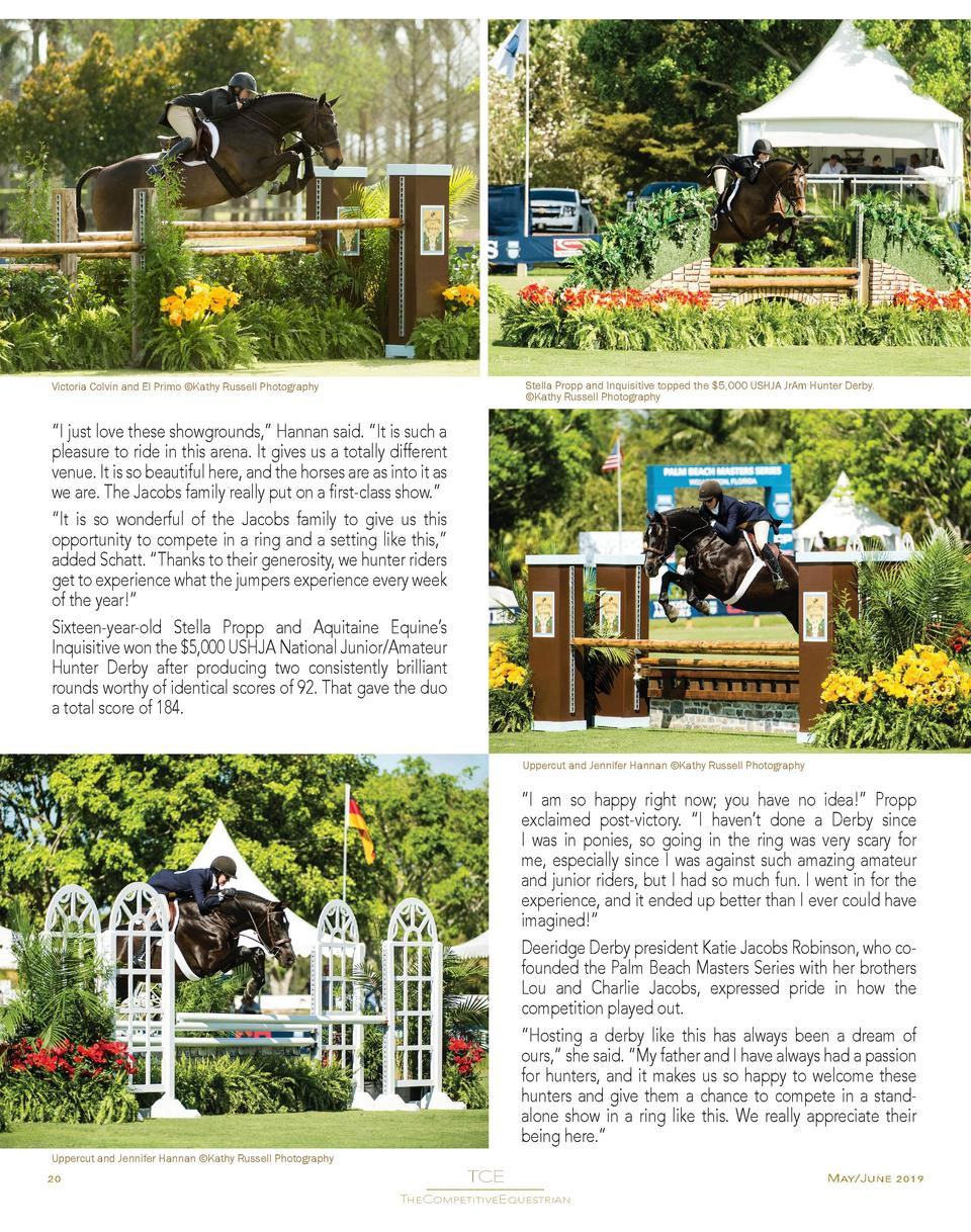 Stella Propp and Inquisitive topped the  5,000 USHJA JrAm Hunter Derby.   Kathy Russell Photography  Victoria Colvin and E...