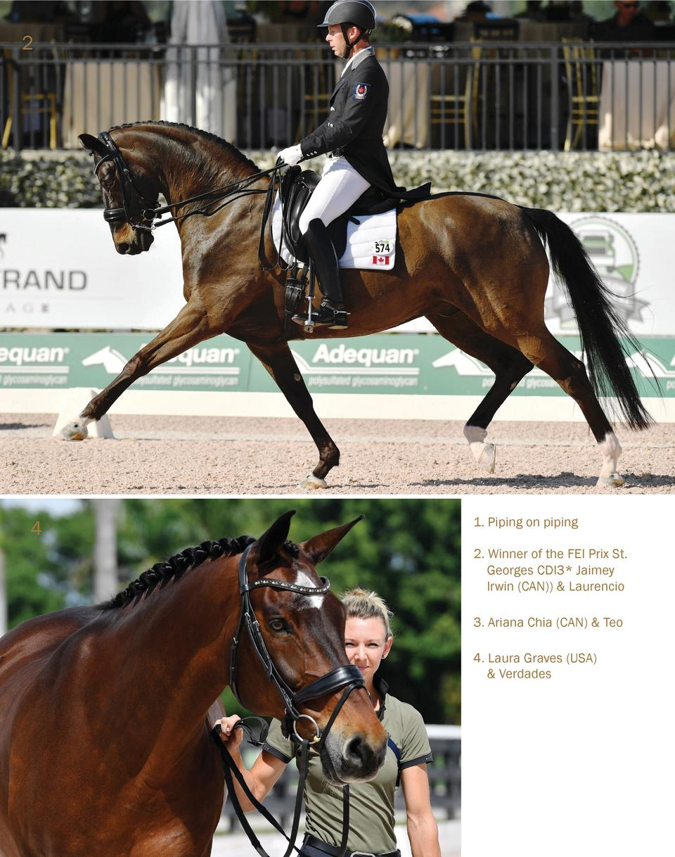 2  4  1. Piping on piping 2. Winner of the FEI Prix St. Georges CDI3  Jaimey Irwin  CAN     Laurencio 3. Ariana Chia  CAN ...