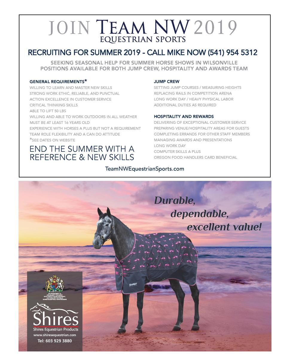 2019  JOIN  RECRUITING FOR SUMMER 2019 - CALL MIKE NOW  541  954 5312 SEEKING SEASONAL HELP FOR SUMMER HORSE SHOWS IN WILS...