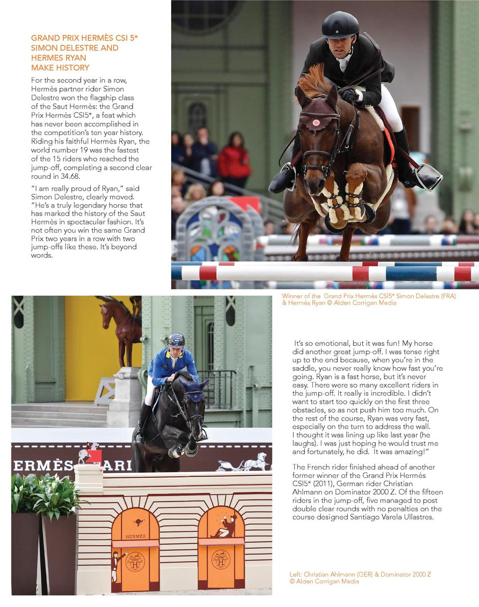 GRAND PRIX HERM  S CSI 5  SIMON DELESTRE AND HERMES RYAN MAKE HISTORY For the second year in a row, Herm  s partner rider ...