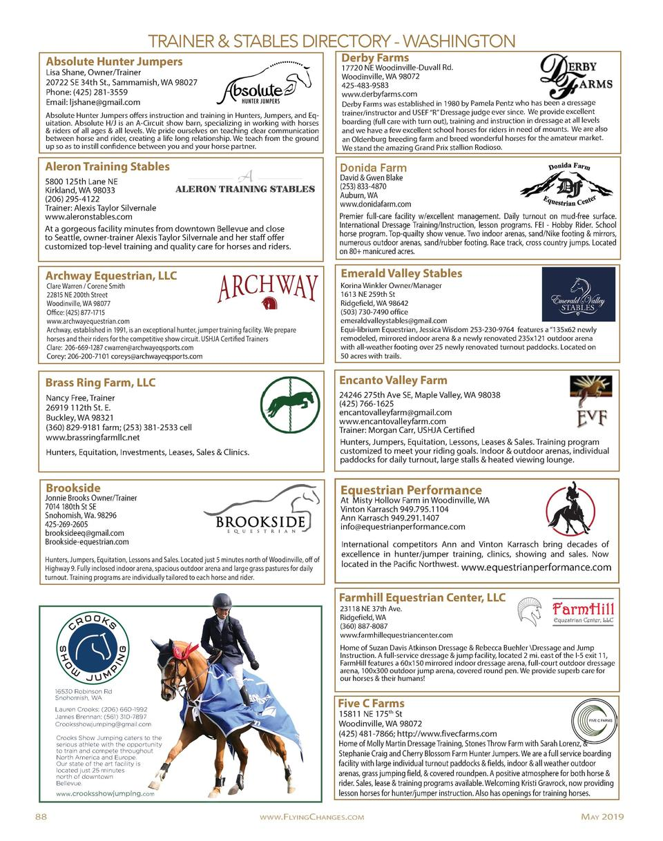 TRAINER   STABLES DIRECTORY - WASHINGTON Absolute Hunter Jumpers  Derby Farms  Absolute Hunter Jumpers offers instruction ...