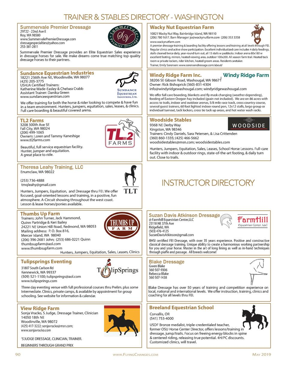 TRAINER   STABLES DIRECTORY - WASHINGTON Summervale Premier Dressage  29722 - 22nd Ave E Roy, WA 98580 www.SummervalePremi...
