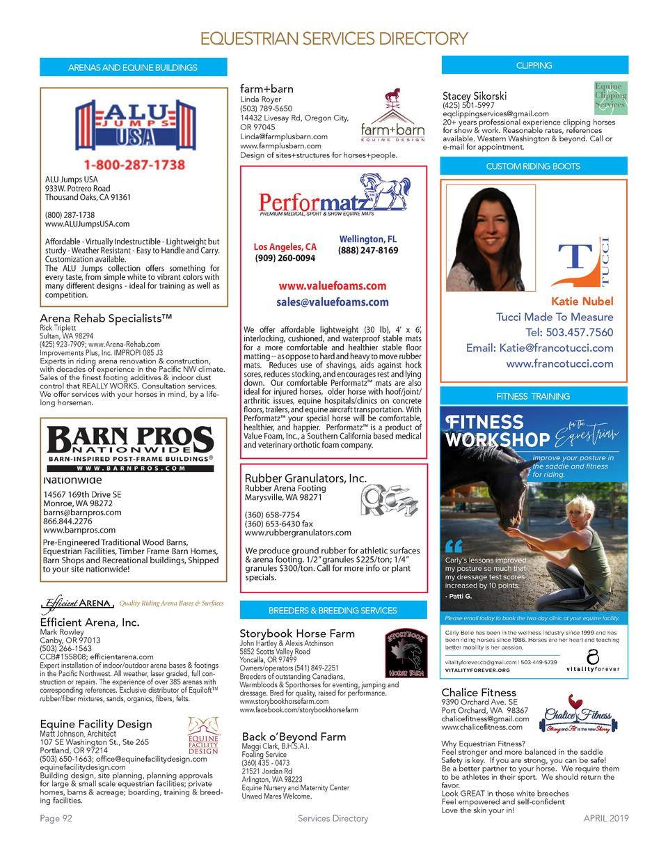 EQUESTRIAN SERVICES DIRECTORY CLIPPING  ARENAS AND EQUINE BUILDINGS  farm barn  Linda Royer  503  789-5650 14432 Livesay R...