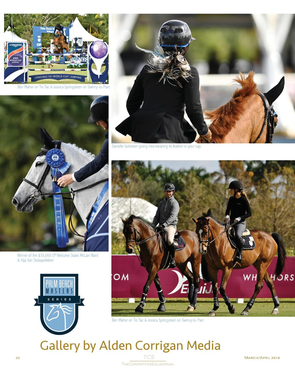 Ben Maher on Tic Tac   Jessica Springsteen on Swinny du Parc  Danielle Goldstien giving new meaning to feather in your cap...