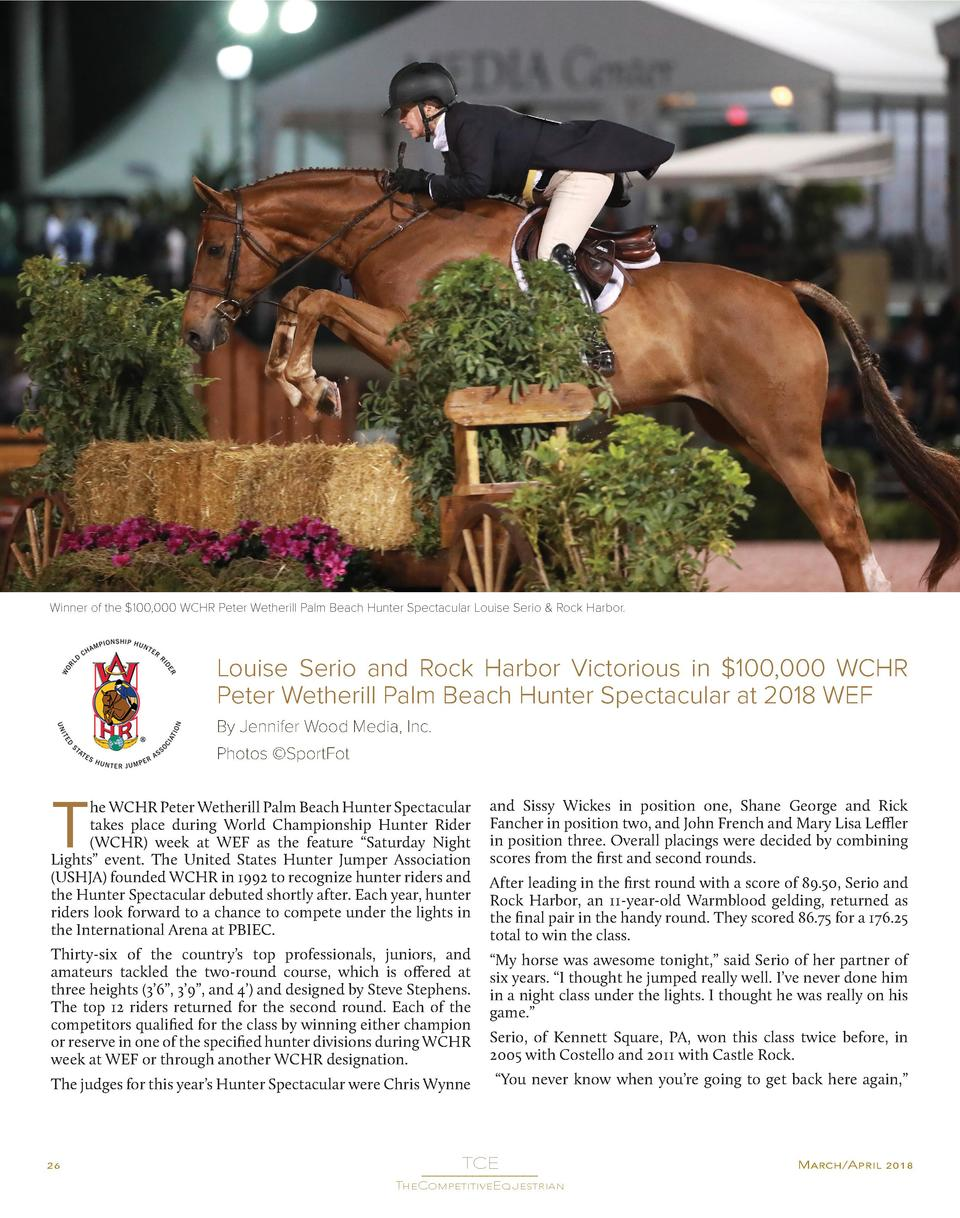 Winner of the  100,000 WCHR Peter Wetherill Palm Beach Hunter Spectacular Louise Serio   Rock Harbor.  Louise Serio and Ro...