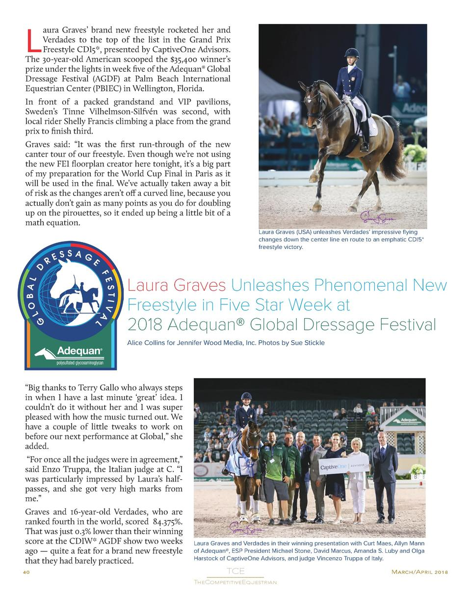 L  aura Graves    brand new freestyle rocketed her and Verdades to the top of the list in the Grand Prix Freestyle CDI5 , ...