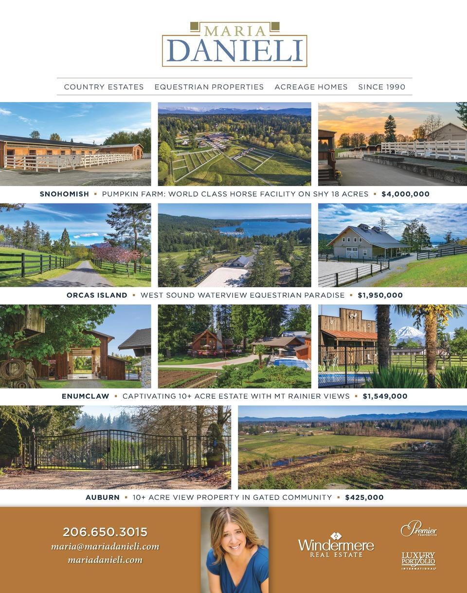 COUNTRY ESTATES  EQUESTRIAN PROPERTIES  ACREAGE HOMES  SINCE 1990  SNOHOMISH     PUMPKIN FARM  WORLD CLASS HORSE FACILITY ...