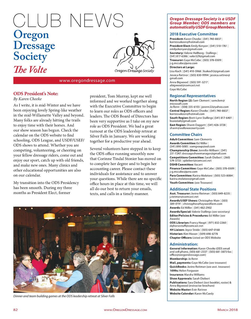 Oregon Dressage Society is a USDF Group Member  ODS members are automatically USDF Group Members.  Oregon Dressage Society...