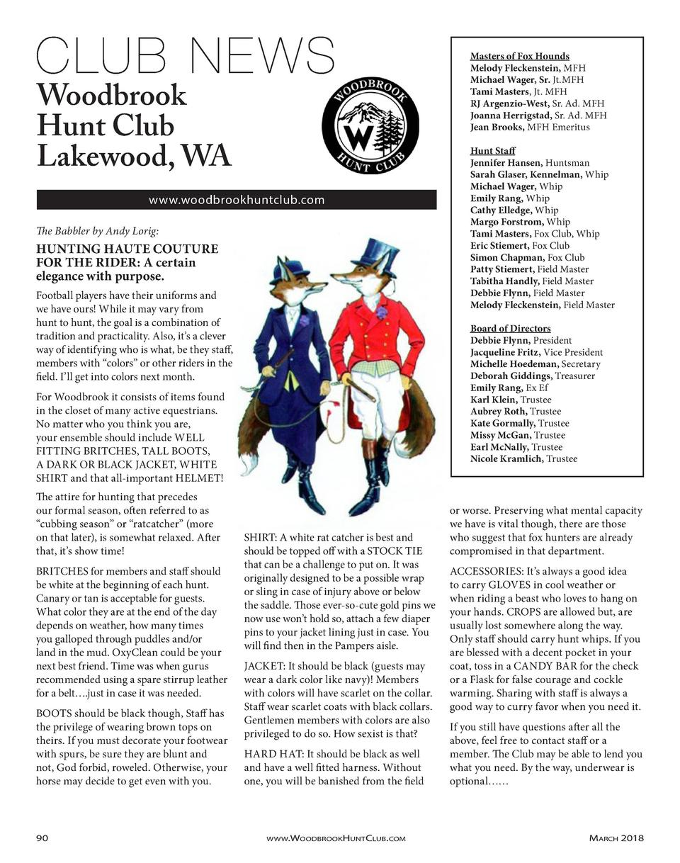 Masters of Fox Hounds Melody Fleckenstein, MFH Michael Wager, Sr. Jt.MFH Tami Masters, Jt. MFH RJ Argenzio-West, Sr. Ad. M...