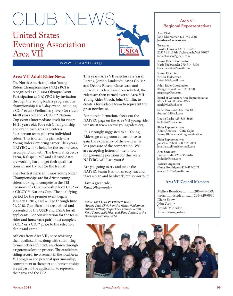 Area VII Regional Representatives  United States Eventing Association Area VII  Area Chair John Meriwether 425-785-2001 jm...