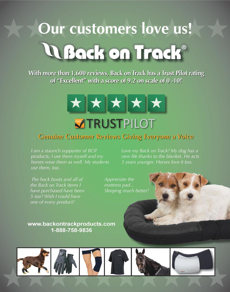 Our customers love us  HHHHHHHHHH With more than 1,600 reviews, Back on Track has a Trust Pilot rating of    Excellent    ...