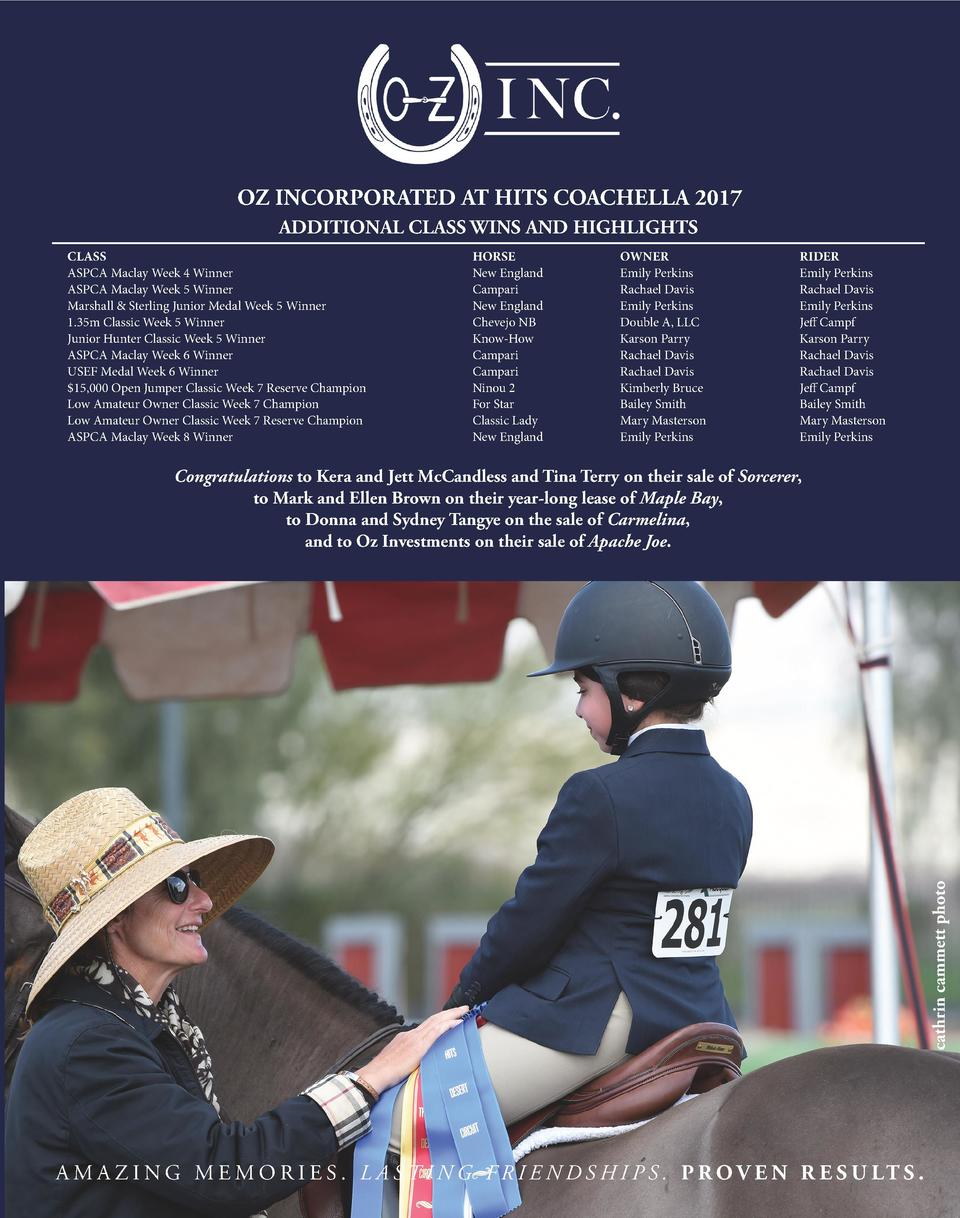 OZ INCORPORATED AT HITS COACHELLA 2017 ADDITIONAL CLASS WINS AND HIGHLIGHTS CLASS ASPCA Maclay Week 4 Winner ASPCA Maclay ...