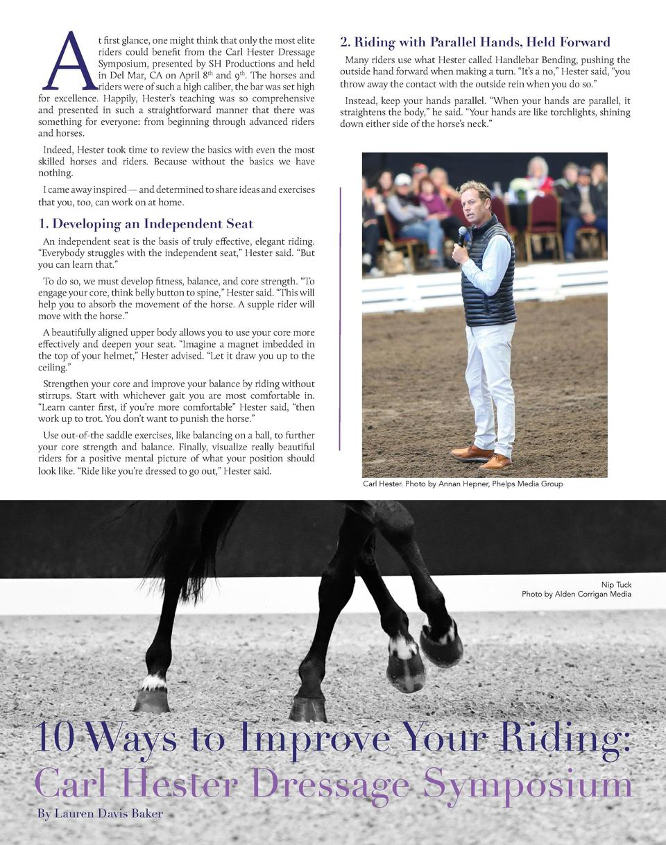 A  t first glance, one might think that only the most elite riders could benefit from the Carl Hester Dressage Symposium, ...