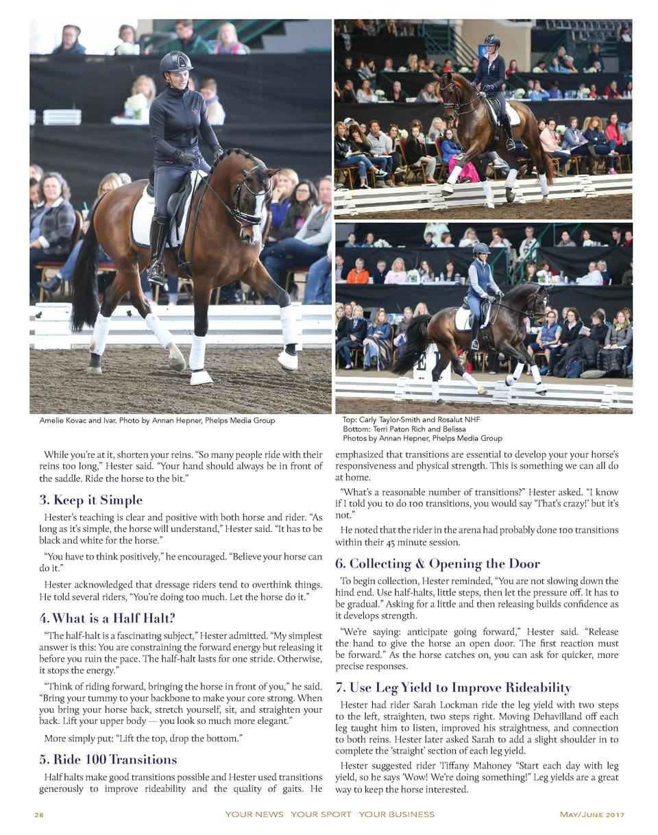 Amelie Kovac and Ivar. Photo by Annan Hepner, Phelps Media Group  Top  Carly Taylor-Smith and Rosalut NHF Bottom  Terri Pa...