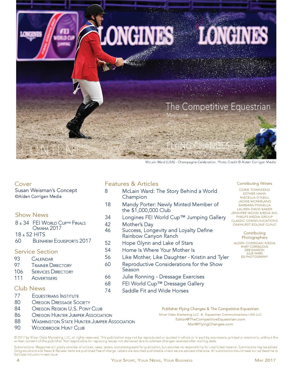 The Competitive Equestrian May June  2017 FLYING CHANGES  CONTENTS  May 2017, Vol. XXIIV No.5 McLain Ward  USA  - Champagn...