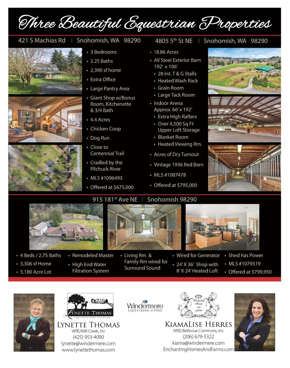Three Three Beautiful Beautiful Equestrian Equestrian Properties Properties  421 S Machias Rd I Snohomish, WA 98290 421 S ...