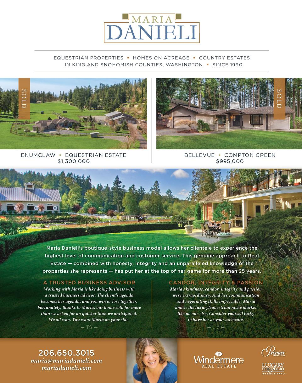 EQUESTRIAN PROPERTIES     HOMES ON ACREAGE     COUNTRY ESTATES IN KING AND SNOHOMISH COUNTIES, WASHINGTON     SINCE 1990  ...
