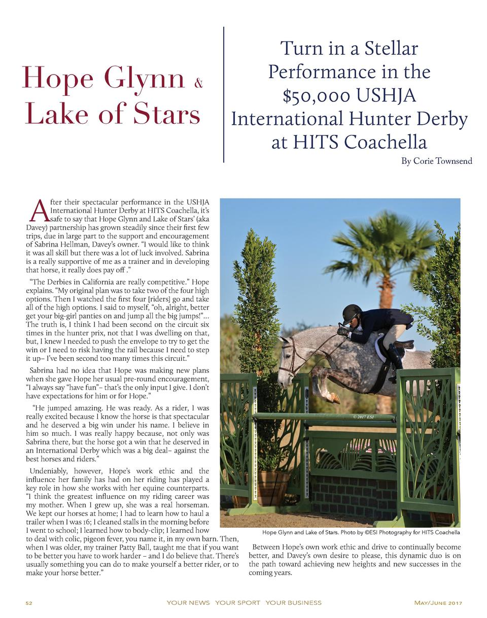 Hope Glynn   Lake of Stars  Turn in a Stellar Performance in the  50,000 USHJA International Hunter Derby at HITS Coachell...