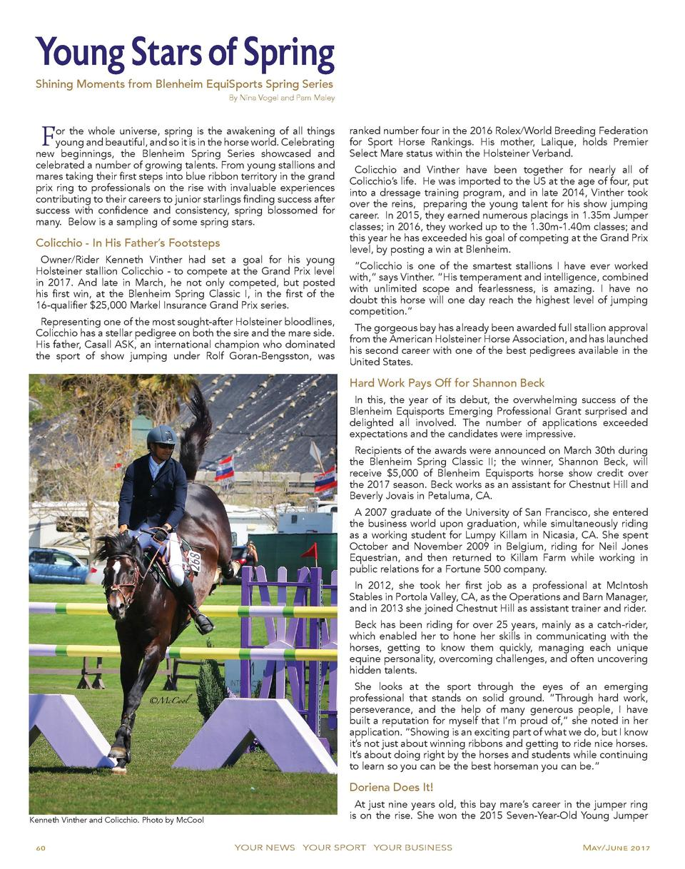 Young Stars of Spring Shining Moments from Blenheim EquiSports Spring Series  By Nina Vogel and Pam Maley  F  or the whole...