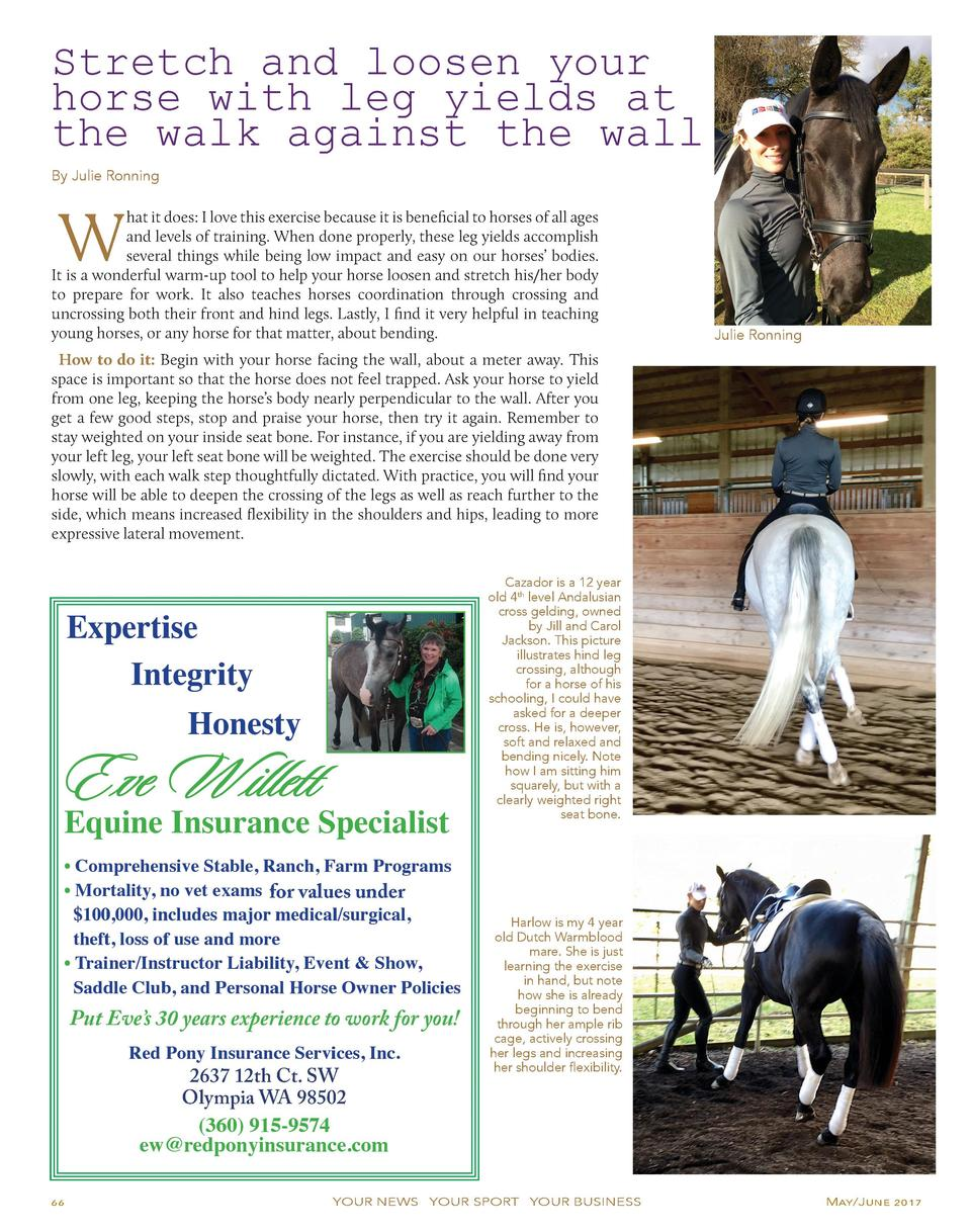 Stretch and loosen your horse with leg yields at the walk against the wall By Julie Ronning  W  hat it does  I love this e...