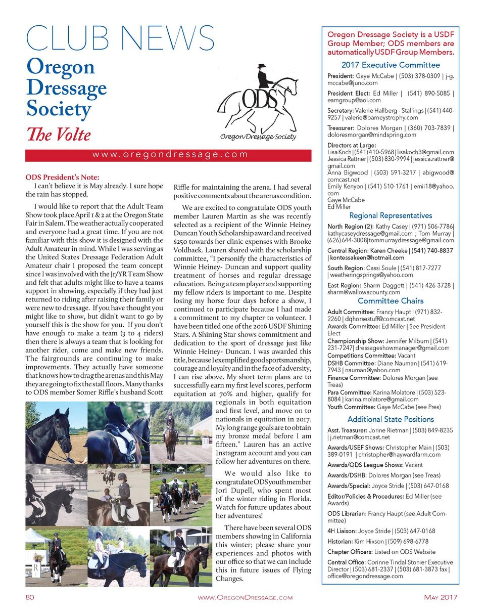 CLUB NEWS Oregon Dressage Society  The Volte  2017 Executive Committee  President  Gaye McCabe    503  378-0309   j-g. mcc...