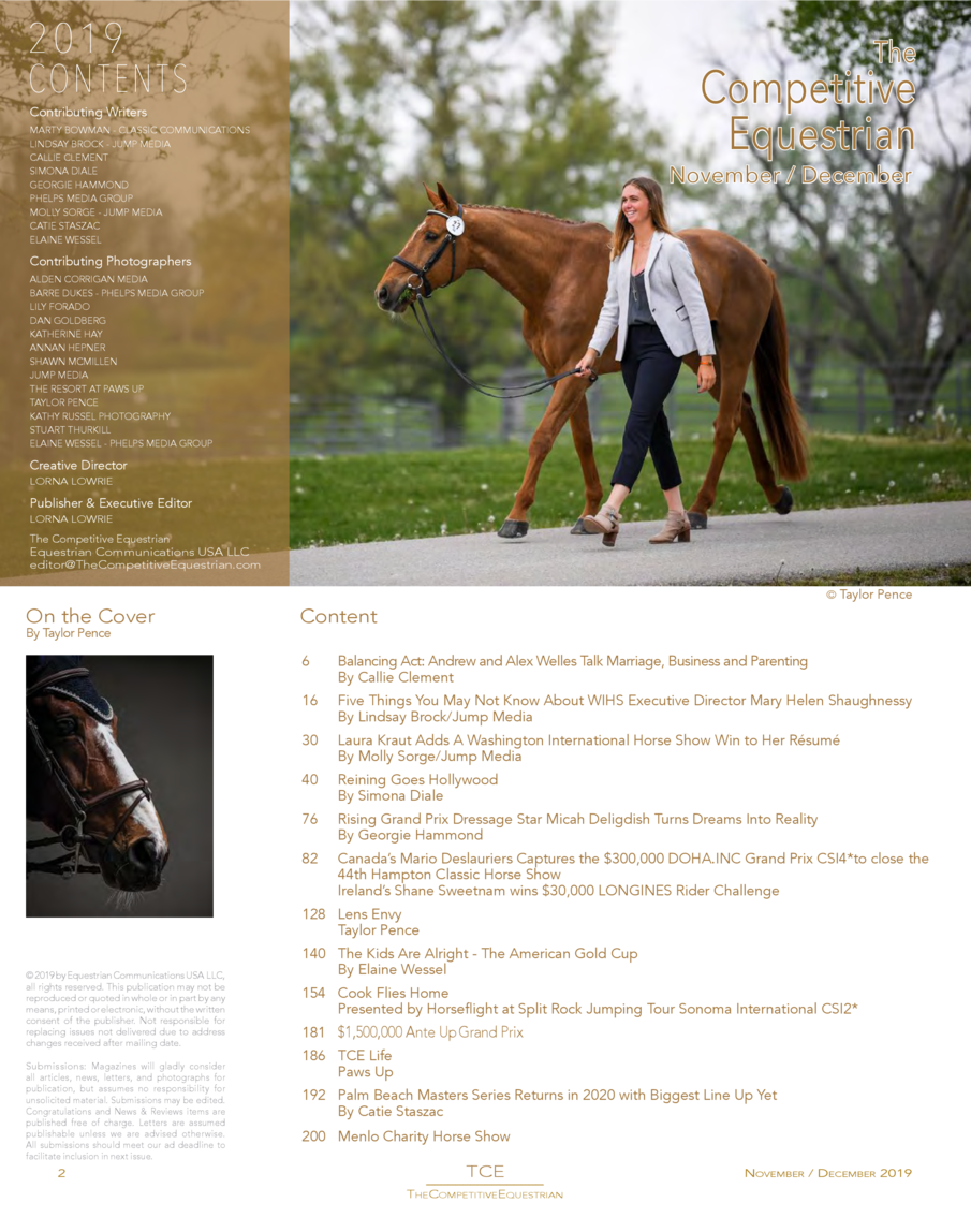 COMPETITIVE EQUESTRIAN November   December 2019 Issue 24  THE  Washington International Horse Show Hampton Classic Horse S...