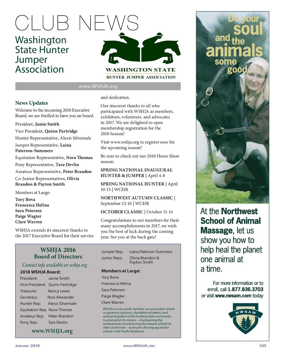 Washington State Hunter Jumper Association www.WSHJA.org  News Updates Welcome to the incoming 2018 Executive Board, we ar...