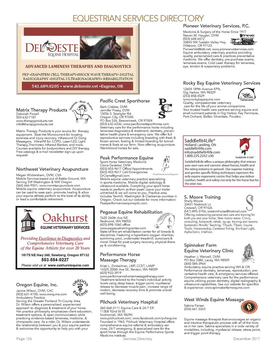 EQUESTRIAN SERVICES DIRECTORY  Pioneer Veterinary Services, P.C.    ADVANCED LAMENESS THERAPIES AND DIAGNOSTICS  PRP    IR...